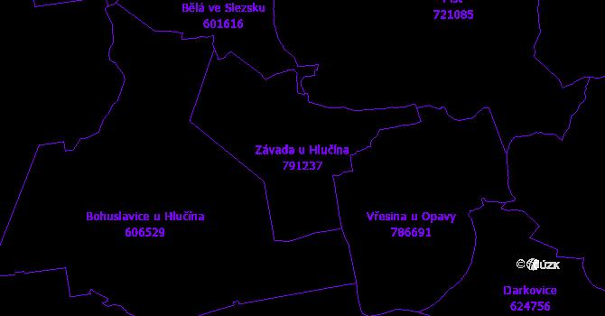 Katastrální mapa Závada u Hlučína - přehledová mapa katastrálního území