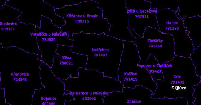 Katastrální mapa Jestřebice - přehledová mapa katastrálního území