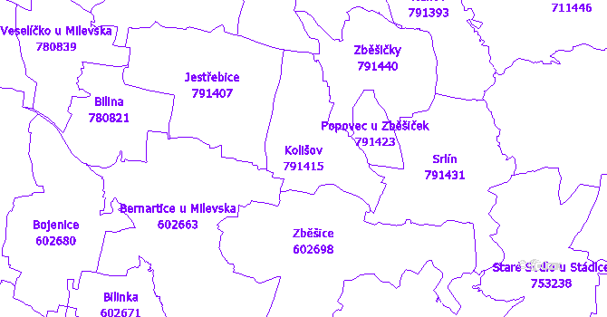 Katastrální mapa Kolišov - přehledová mapa katastrálního území