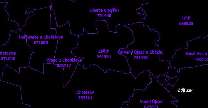 Katastrální mapa Zbůch - přehledová mapa katastrálního území