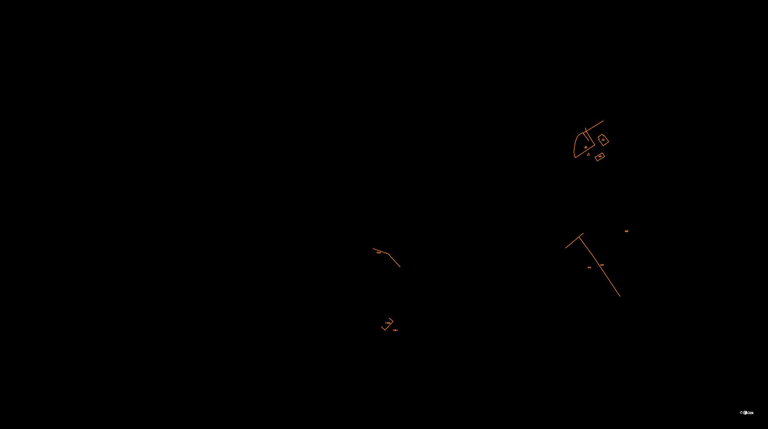 Katastrální mapa pozemků a čísla parcel Klucké Chvalovice