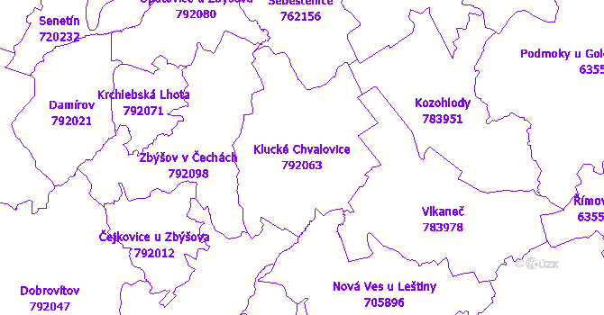 Katastrální mapa Klucké Chvalovice - přehledová mapa katastrálního území