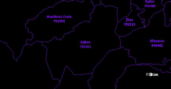 Katastrální mapa Zdíkov - přehledová mapa katastrálního území