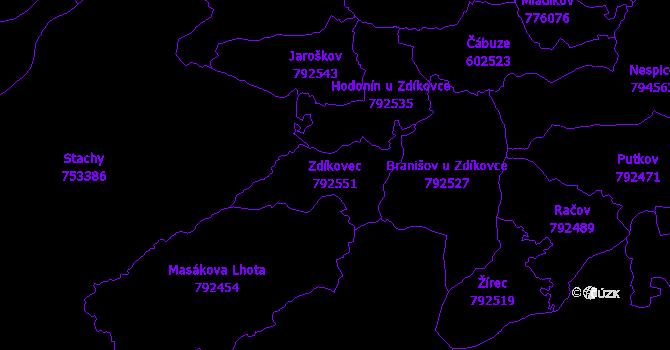 Katastrální mapa Zdíkovec - přehledová mapa katastrálního území