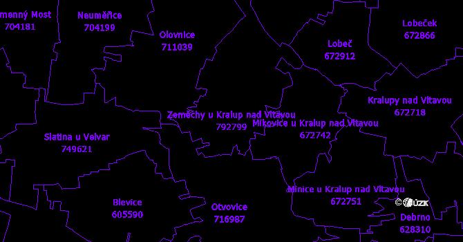 Katastrální mapa Zeměchy u Kralup nad Vltavou - přehledová mapa katastrálního území