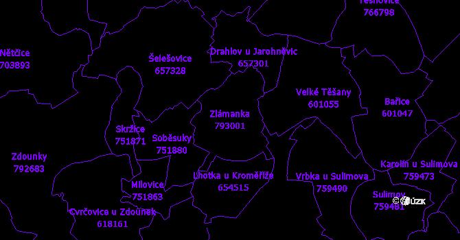 Katastrální mapa Zlámanka - přehledová mapa katastrálního území