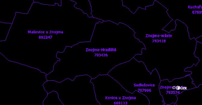 Katastrální mapa Znojmo-Hradiště - přehledová mapa katastrálního území