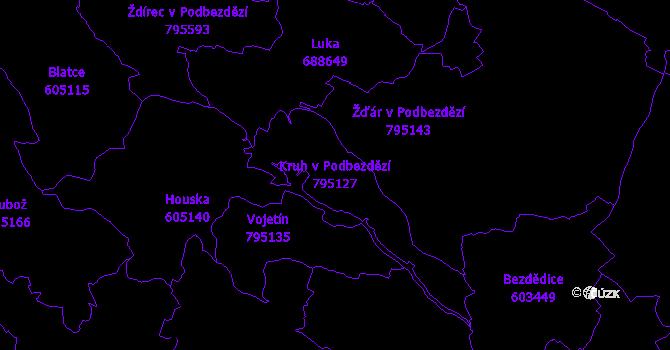 Katastrální mapa Kruh v Podbezdězí - přehledová mapa katastrálního území