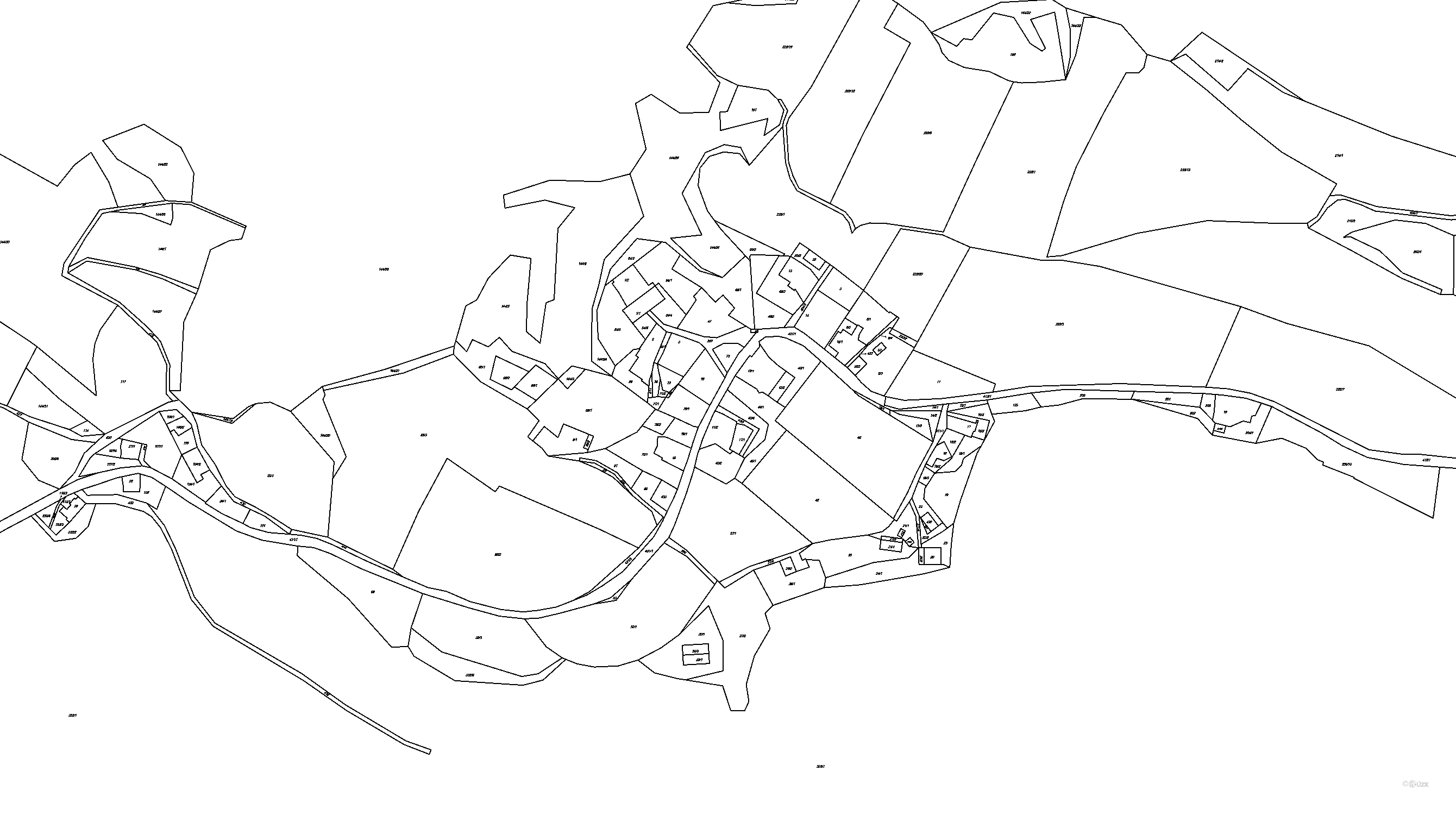 Katastrální mapa pozemků a čísla parcel Vojetín