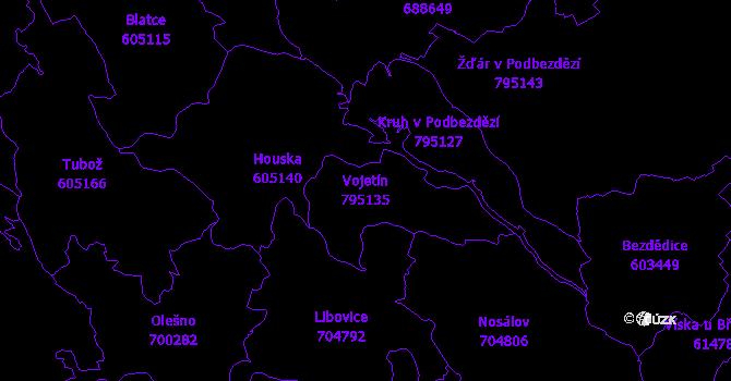 Katastrální mapa Vojetín - přehledová mapa katastrálního území