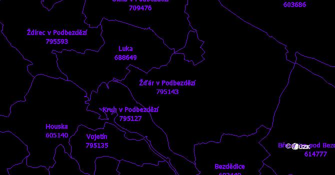Katastrální mapa Žďár v Podbezdězí - přehledová mapa katastrálního území