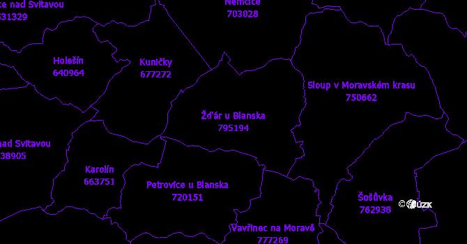 Katastrální mapa Žďár u Blanska - přehledová mapa katastrálního území