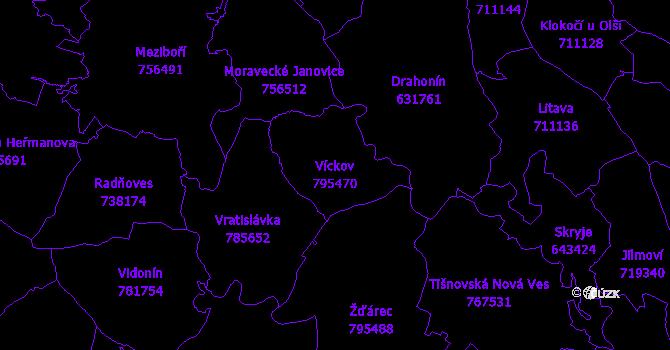 Katastrální mapa Víckov - přehledová mapa katastrálního území