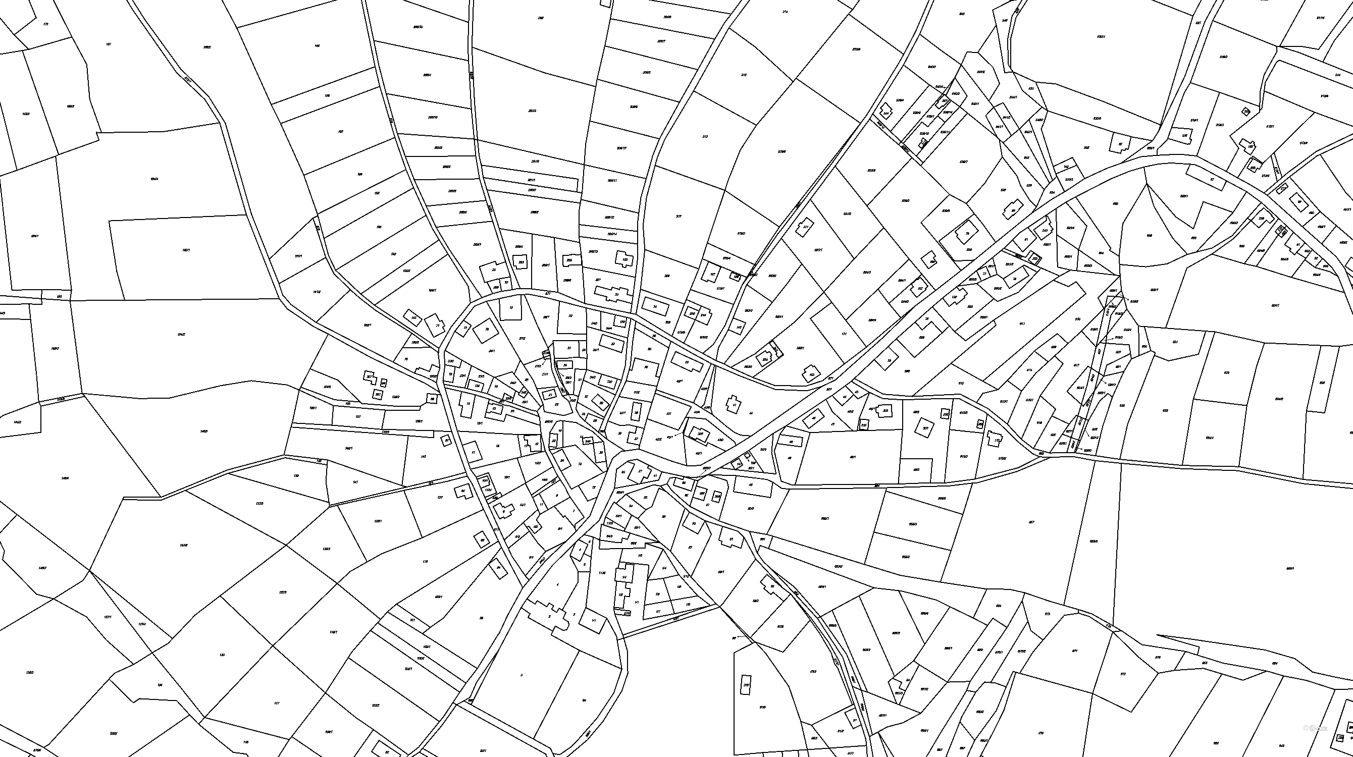 Katastrální mapa pozemků a čísla parcel Bzí u Železného Brodu