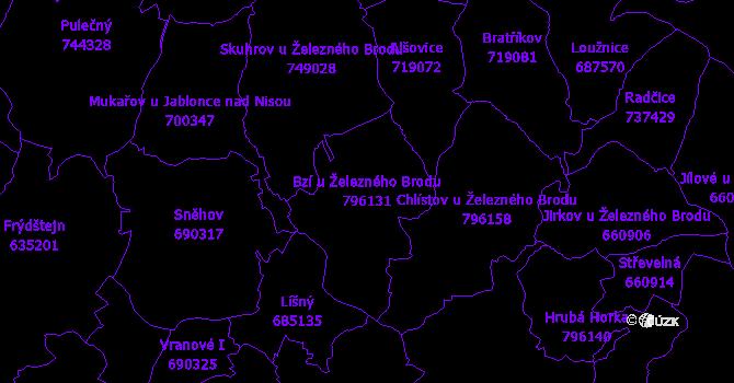 Katastrální mapa Bzí u Železného Brodu - přehledová mapa katastrálního území
