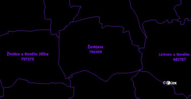 Katastrální mapa Ženklava - přehledová mapa katastrálního území