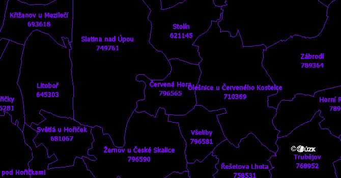 Katastrální mapa Červená Hora - přehledová mapa katastrálního území