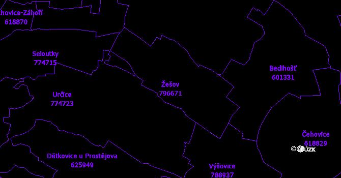 Katastrální mapa Žešov - přehledová mapa katastrálního území