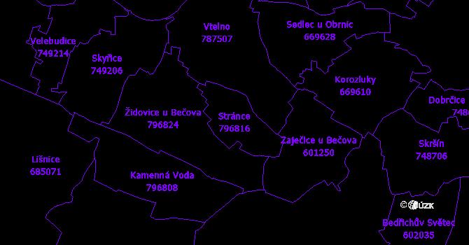 Katastrální mapa Stránce - přehledová mapa katastrálního území