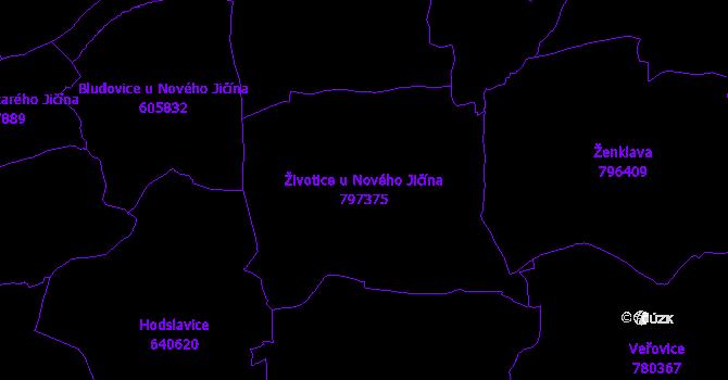 Katastrální mapa Životice u Nového Jičína - přehledová mapa katastrálního území