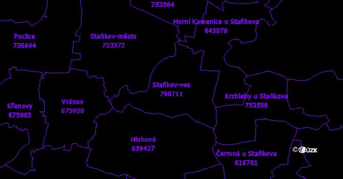 Katastrální mapa Staňkov-ves - přehledová mapa katastrálního území