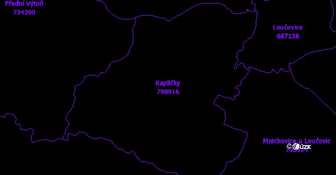 Katastrální mapa Kapličky - přehledová mapa katastrálního území