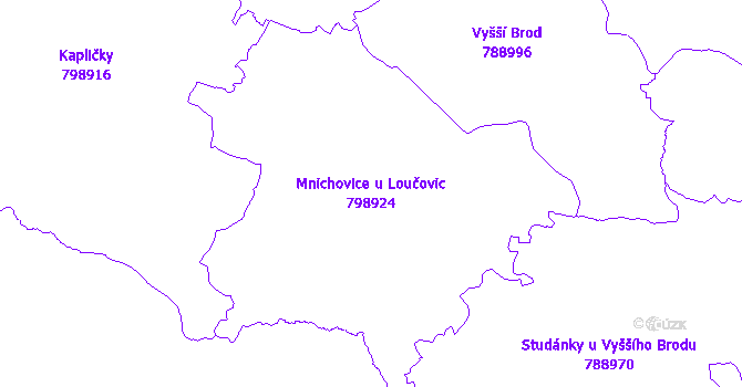 Katastrální mapa Mnichovice u Loučovic - přehledová mapa katastrálního území