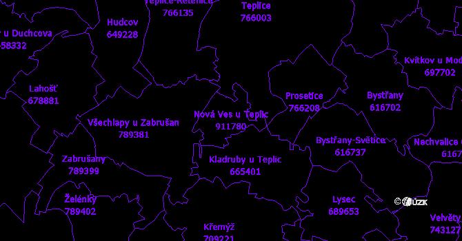 Katastrální mapa Nová Ves u Teplic - přehledová mapa katastrálního území