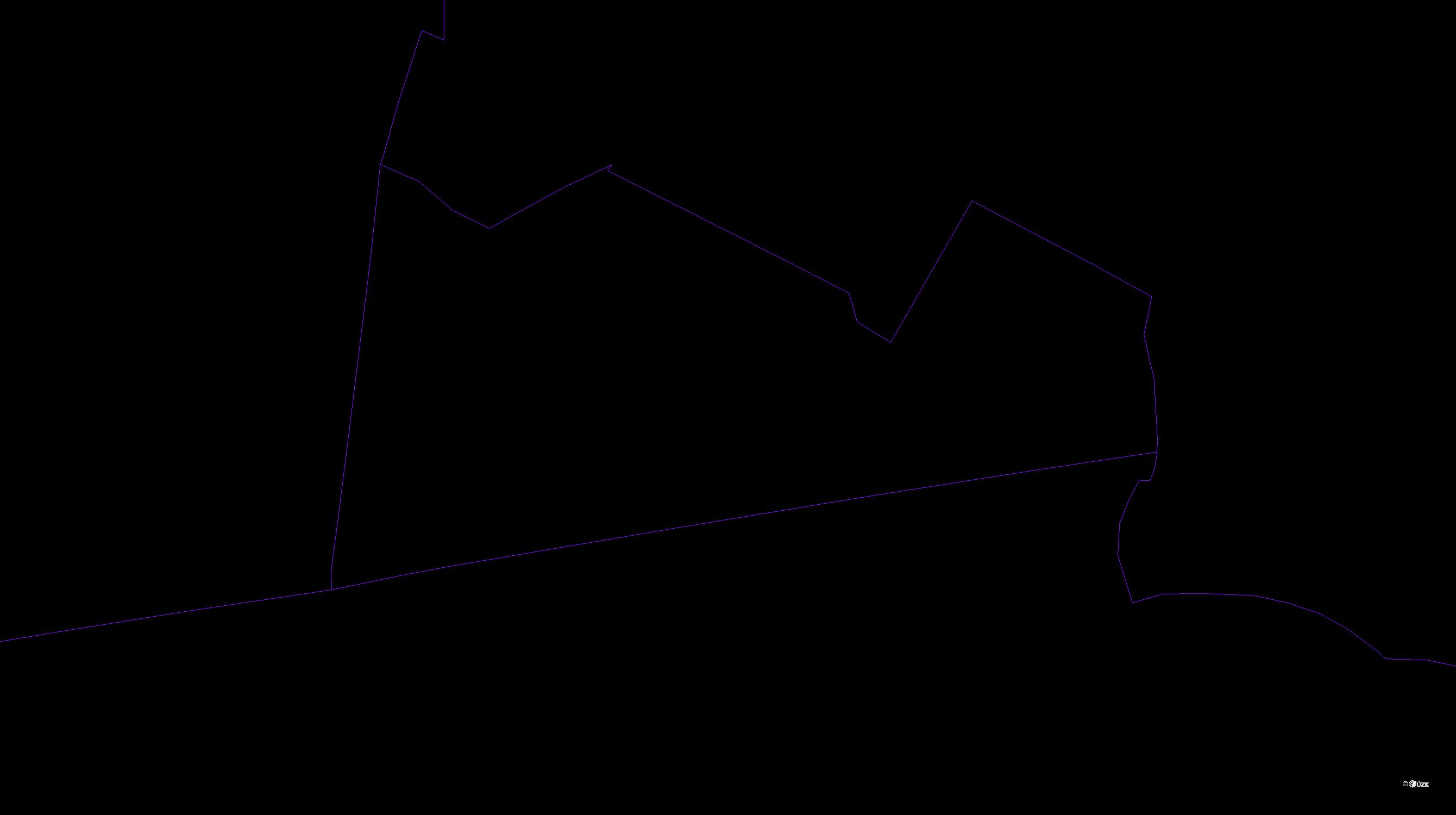 Katastrální mapa pozemků a čísla parcel Horky u Stínavy