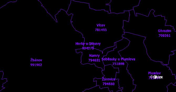 Katastrální mapa Horky u Stínavy - přehledová mapa katastrálního území
