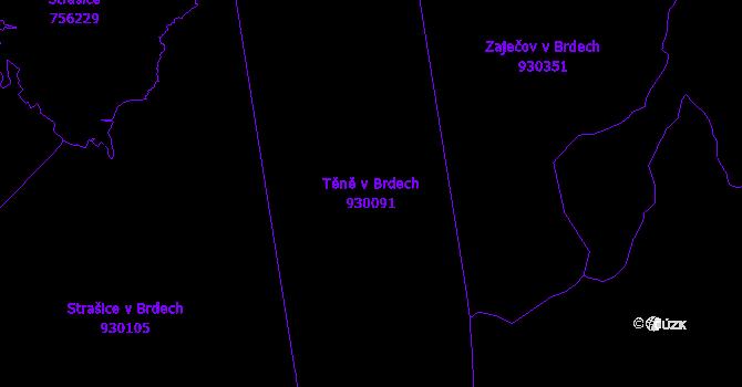 Katastrální mapa Těně v Brdech - přehledová mapa katastrálního území