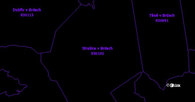 Katastrální mapa Strašice v Brdech - přehledová mapa katastrálního území