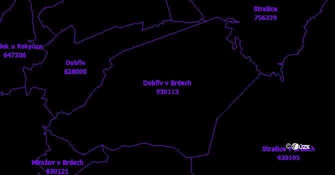 Katastrální mapa Dobřív v Brdech - přehledová mapa katastrálního území