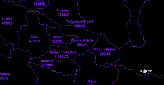 Katastrální mapa Číčov v Brdech - přehledová mapa katastrálního území