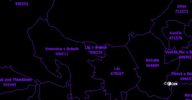 Katastrální mapa Láz v Brdech - přehledová mapa katastrálního území