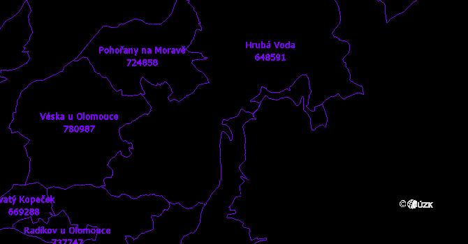 Katastrální mapa Hlubočky IV - přehledová mapa katastrálního území