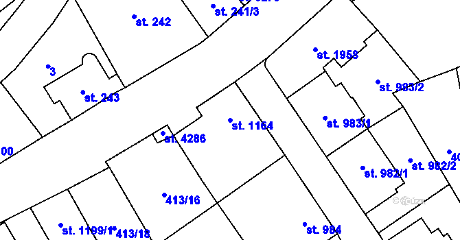 Parcela st. 1164 v k.ú. Aš, Katastrální mapa