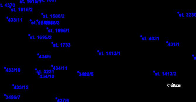 Parcela st. 1413/1 v k.ú. Aš, Katastrální mapa