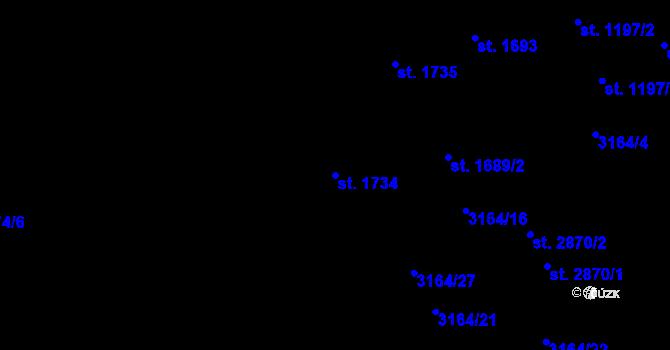 Parcela st. 1734 v k.ú. Aš, Katastrální mapa