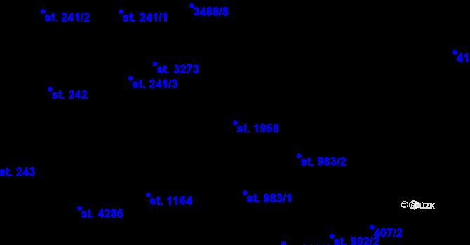 Parcela st. 1958 v k.ú. Aš, Katastrální mapa
