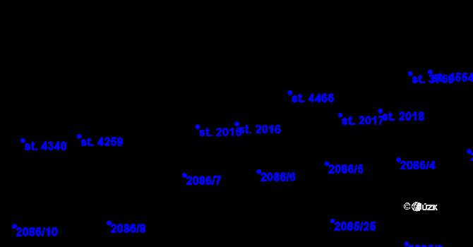 Parcela st. 2016 v k.ú. Aš, Katastrální mapa
