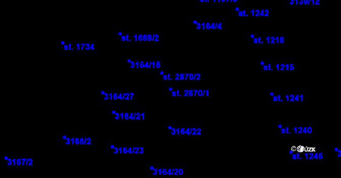 Parcela st. 2870/1 v k.ú. Aš, Katastrální mapa