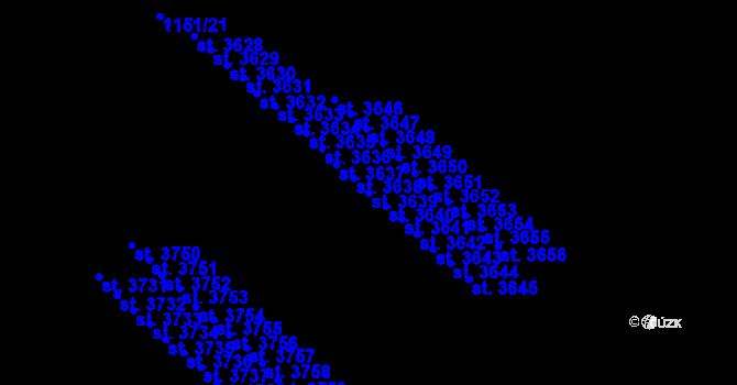 Parcela st. 3639 v k.ú. Aš, Katastrální mapa