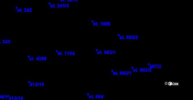 Parcela st. 983/1 v k.ú. Aš, Katastrální mapa