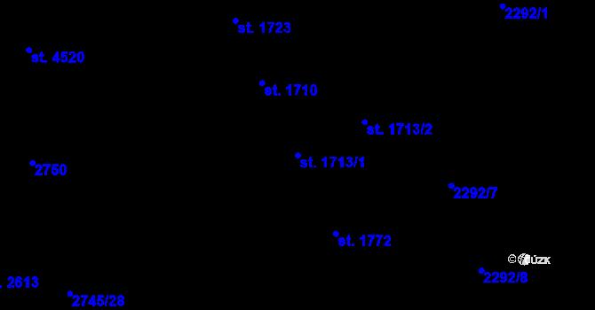 Parcela st. 1713/1 v k.ú. Aš, Katastrální mapa