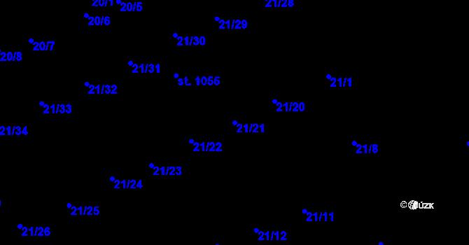 Parcela st. 21/21 v k.ú. Nové Benátky, Katastrální mapa
