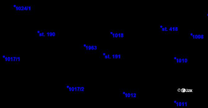 Parcela st. 191 v k.ú. Bílý Potok pod Smrkem, Katastrální mapa
