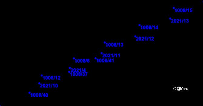 Parcela st. 2021/11 v k.ú. Lázně Bohdaneč, Katastrální mapa
