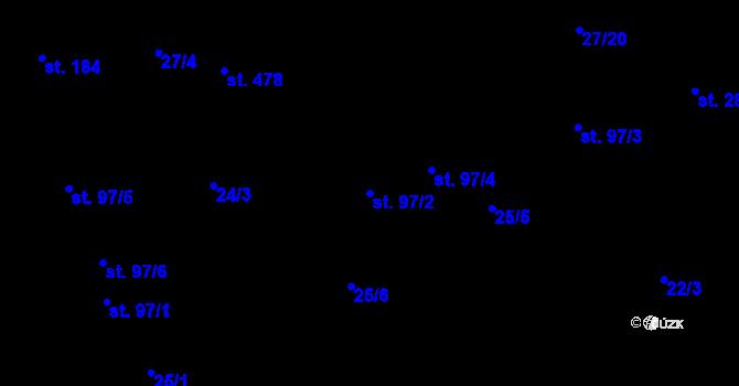Parcela st. 97/2 v k.ú. Bratronice u Kladna, Katastrální mapa