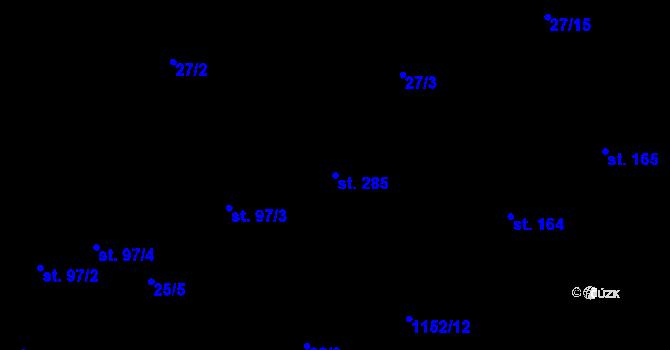Parcela st. 285 v k.ú. Bratronice u Kladna, Katastrální mapa